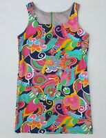 Vintage 1970's Bright Psychedelic Abstract Flower Power Shift Dress M Retro 10