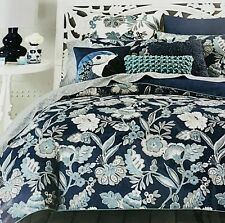 Mia Full / Queen Comforter Cover 3-Piece Set 100% Cotton Sky Blue Floral $230
