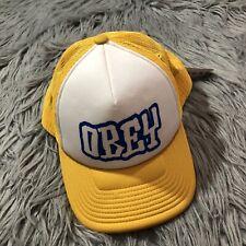 NWT Obey Worldwide Better Days Trucker Hat Cap Style Snapback Logo Yellow Blue