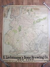 City Map New York Manhatten Brookly Stadtplan Kalender 1907 Reklame Bier Karte