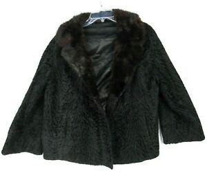 Vintage 60s Mod Black Short Coat w/Dark Brown Mink Fur Collar L XL Open Front