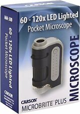 Carson MicroBrite Plus 60x-120x Power LED Lighted Pocket Microscope Lightweight