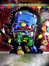 ART PRINT POSTER PHOTO GRAFFITI MURAL STREET PEEKING FACE NOFL0291