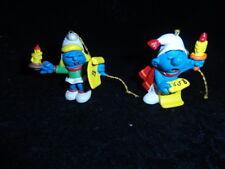 Vintage Smurfette Christmas Caroling 51909 Smurf Caroler 51905 Figure Ornaments