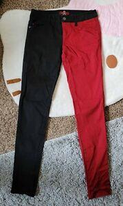 Royal Bones by Daang Split Color red and black Skinny Jeans