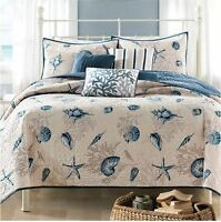 King Size Bedding Beach Theme Comforter Set Ocean Seashell Coastal Nautical Sea