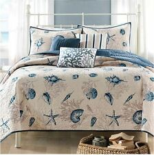 King Size Bedding Beach Theme Comforter Set Ocean Seashell Coastal Nautical Sea