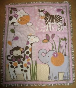 Cocalo Baby Jacana Comforter Quilt Giraffe Monkey Zebra Elephant Hippo Purple