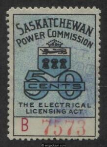 Saskatchewan Electrical Stamp, SE19 used, F-VF