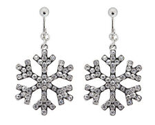 CLIP ON EARRINGS - silver plated drop snowflake earring with crystals - Millie