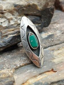 Old Pawn Sterling Silver Turquoise Tribal Shadowbox Ring Navajo Native...