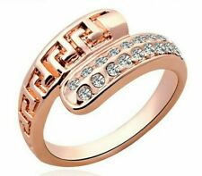 US SELLER BEAUTIFUL ROSE GOLD FILLED WHITE SAPPHIRE SIMULATED BAND RING SIZE 8