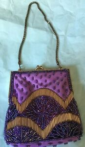 Vintage Beaded Purplepink Coin Purse Claps Closure