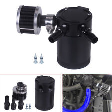 Black Racing Baffled Aluminum Alloy 3-Port Oil Catch Can/Tank/Air-Oil Separator