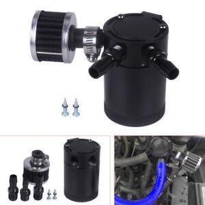 Black Racing Baffled Aluminum Alloy 3-Port Oil Catch Can/Tank/Air-Oil Separator