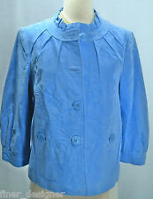 DIALOGUE QVC WASHABLE BLUE SUEDE LEATHER Coat Jacket 3/4 sleeve ruffle M NEW NWT
