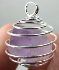 Vietnam 100% Natural Terminated Raw Amethyst Crystal In Spiral Cage Pendant