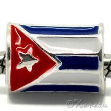 Flag Of Cuba European Bead - Cylindrical Cuban Flag For European Charm Bracelets