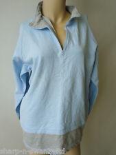 Ladies Blue/Grey Zip Neck Cotton Sweatshirt Jumper Top UK 12-14 EU 40-42