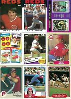 PETE ROSE HUGE BASEBALL CARD LOT - CINCINNATI REDS-PHILLIES