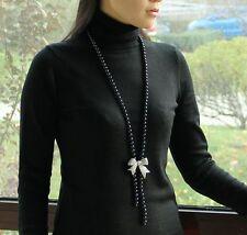 Collier Sautoir Perle Culture Noir Argent Massive 925 Papillon Class Zircon TZ