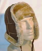 Brown Warm Sheepskin Shearling Leather Russian Ushanka Trapper Trooper Hat S-XL