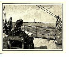 Light House-Fire Island-New York-1891 Repro-Engraving Greeting Vintage Note Card