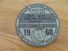 Original Vintage norton sidecar  Bicycle Tax Disc march  1960