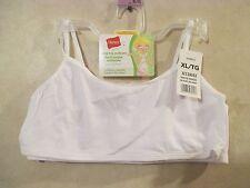 Girls HANES Size XL White Crop Top Pullover Cotton Spandex Training Bra~2 BRAS