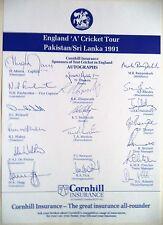 England 'a' a Pakistán & Sri Lanka 1991: hoja de autógrafos oficial de cricket