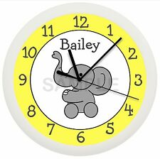 Elephant Wall Clock Nursery Decor Yellow White Children'S Bedroom Gift Shower