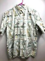 Reyn Spooner Hawaiian Button-Up Shirt Reverse Sailboat Lighthouse Nautical L EUC