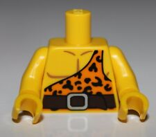 Lego Torso Bright Light Orange Shirt with One Strap and Leopard Spots Brown Belt