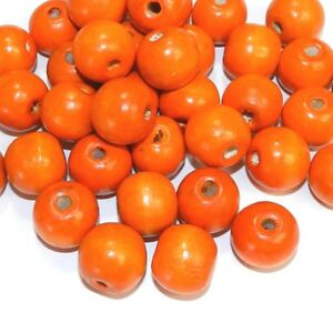 WX769 Orange 20mm Semi- Round Wood Spacer Beads 500-grams