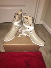 Christian Louboutin Scubabootie Flat Beige White Leather Boots Shoes EU 40 US 9
