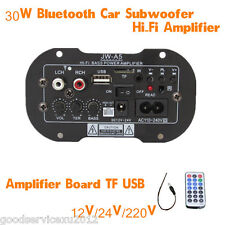 30W Bluetooth Car SUV Subwoofer Hi-Fi Bass Amplifier Support AUX TF Card 12V/24V