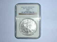 2011-W American Eagle 25th Anniversary Silver Dollar Coin NGC MS 69