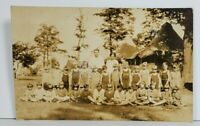 Rppc Children Summer Camp c1916 Swimsuits Tents Real Photo Postcard O4