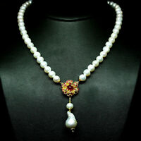 "NATURAL WHITE PEARL BAROQUE & RED RUBY NECKLACE  18"" 925 STERLING SILVER"