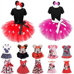 Kind Mädchen Gedruckt Sommerkleid Minnie Maus Tüll Kleider Prinzessin Partykleid
