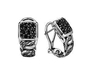 John Hardy Sterling Silver Pave Black Sapphire Classic Chain Hoop Earrings