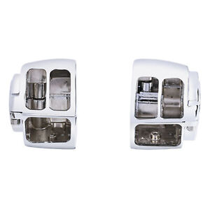 Chrome Switch Housings Cover Kit Fit For Harley Softail Sportster 1200 1996-2006