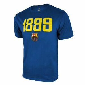 FC BARCELONA ESTABLISHED 1899 TEAM CREST YOUTH NAVY T-SHIRT PREMIUM POLY/COTTON