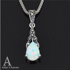 Art deco Opal 925 Sterling Silver Marcasite Sets Necklace Pendant Wedding Gifts