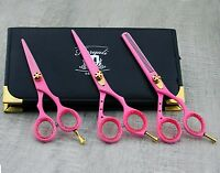 Pink Hairdressing Scissor Set Shears and Thinning with Case Professional kit