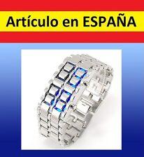 Reloj de pulsera ACERO digital Samurai LAVA WATCH brazalete plata led inoxidable