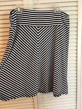 Faded Glory Women's XL 16-18 Black White Striped Skirt Stretchy
