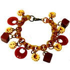 Vintage Button Charm,  Bakelite Bracelet with Celluloid Chain, One of a Kind