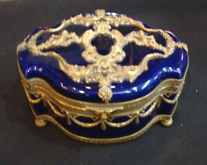 ANTIQUE FRENCH COBALT BLUE & BRONZE JEWELRY BOX ,