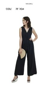 Country Road Size 6 Black Linen Jumpsuit